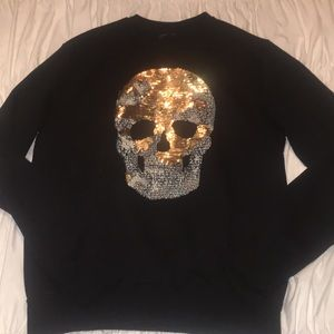 535672f8 Zara Sweaters | Black Sequined Skull Sweater | Poshmark